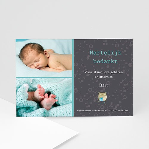 Bedankkaartjes Geboorte Jongen Baby by night