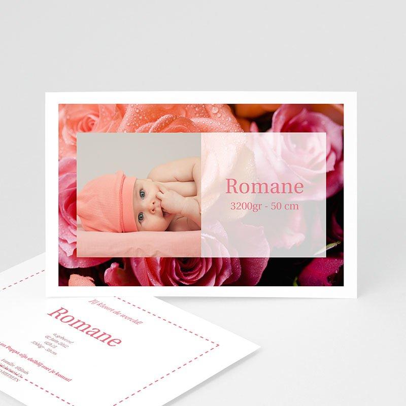 Geboortekaartje meisje - Rode rozen 11455 thumb