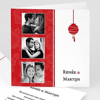 Trouwkaarten met foto - Rode lampion - 1