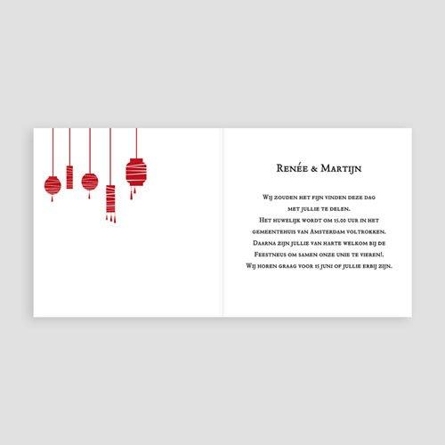 Trouwkaarten met foto Rode lampion pas cher