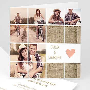Trouwkaarten met foto - Mozaiek trouwkaart - 1