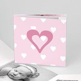 Geboortekaartje meisje Liefdevol vierluik, rood-roze
