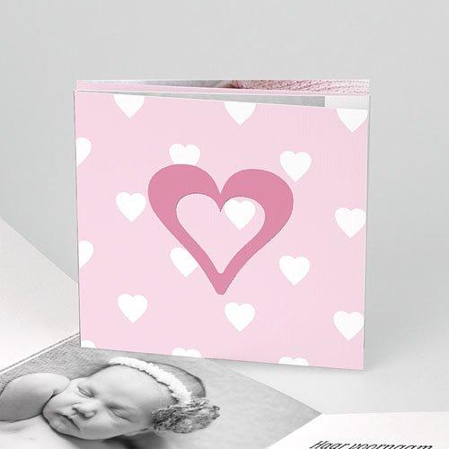 Geboortekaartje meisje - Liefdevol vierluik, rood-roze 11548 thumb