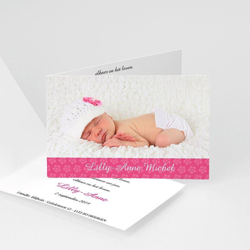 Geboortekaartjes Meisje Roze bloemmotief