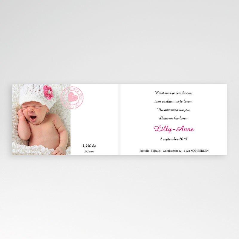 Geboortekaartjes Meisje Roze bloemmotief pas cher