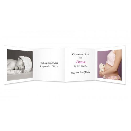 Geboortekaartje meisje - Uitvouwen en knuffelen 11567 thumb