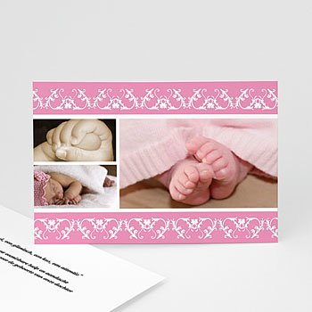 Bedankkaartje geboorte dochter - Roze sierprinten - 1