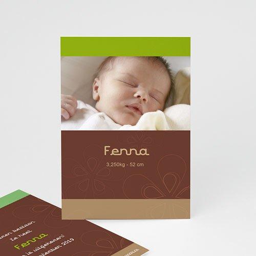 Geboortekaartjes Meisje choco-pistache kaart