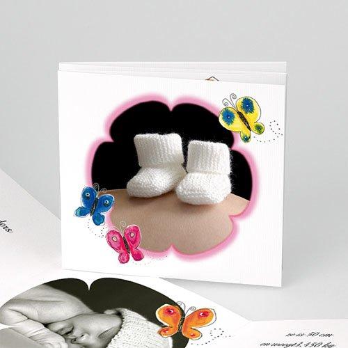 Geboortekaartje meisje Versierde vlinders in roze