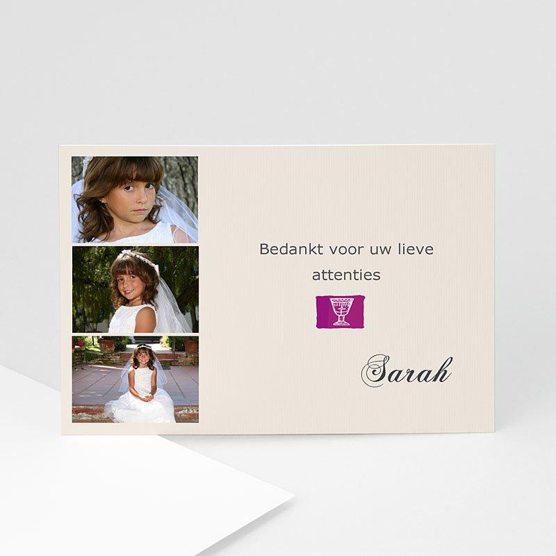 Bedankkaart communie meisje - Gedoopt in puur wit 11636 thumb