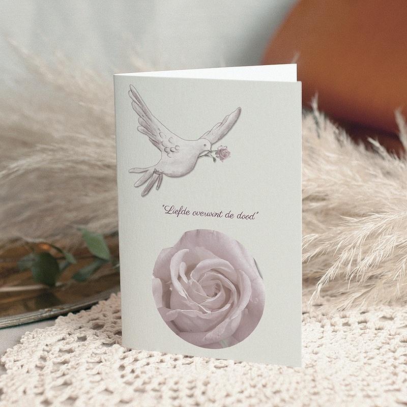 Universele Bedankkaartjes Overlijden Roos en duif