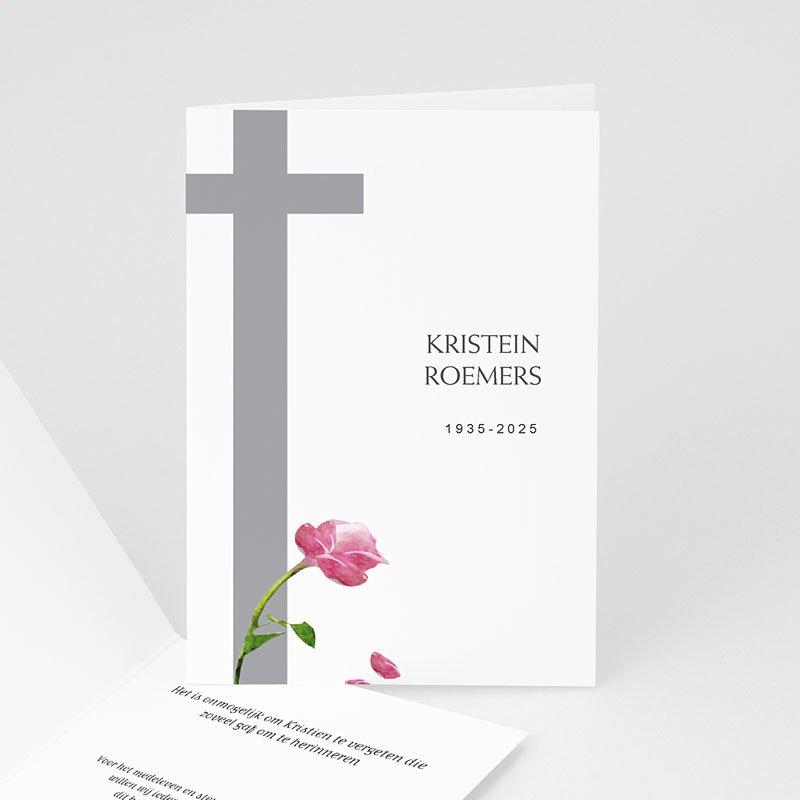 Overlijden Christelijke Bedankkaartjes Met rode roos