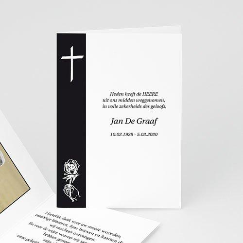 Bedankkaarten overlijden, Christelijk - Traditie zwart-wit 11646 thumb
