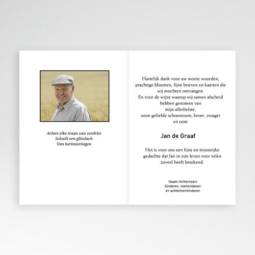 Bedankkaarten overlijden, Christelijk - Traditie zwart-wit 11647 thumb