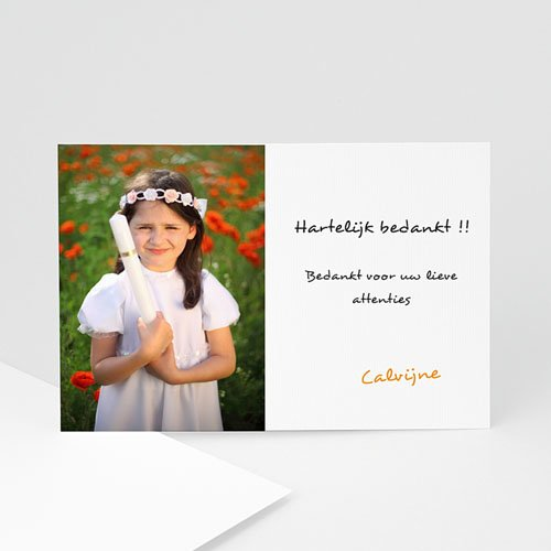 Bedankkaart communie meisje - Fresco van doopsel 11656 thumb
