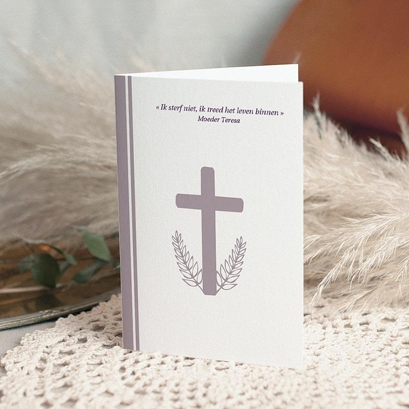 Bedankkaarten overlijden, Christelijk Sober grijs-lila