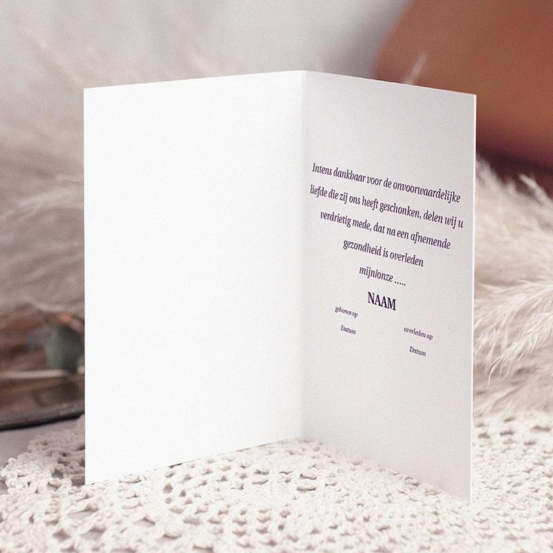 Bedankkaarten overlijden, Christelijk Sober grijs-lila pas cher