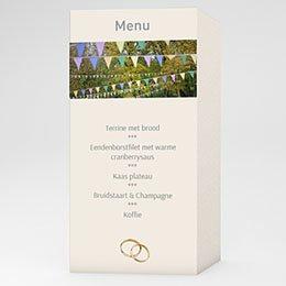 Personaliseerbare menukaarten huwelijk Rozenboeket