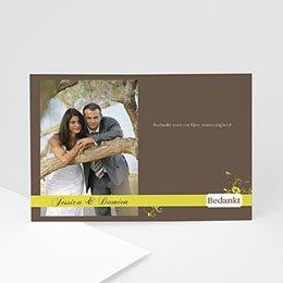 Bedankkaartjes huwelijk Bruin en geel