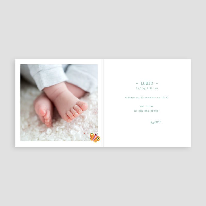 Geboortekaartje jongen - Overal vlindertjes 11681 thumb