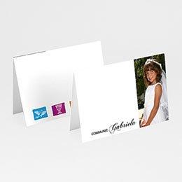 Plaatskaartjes Communie Gedoopt in puur wit