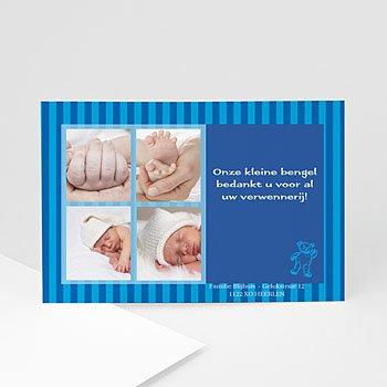 Bedankkaartje geboorte zoon - Blauw beertje - 1