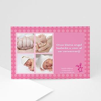 Bedankkaartje geboorte dochter - Konijntje in roze - 1