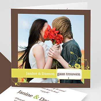 Personaliseerbare trouwkaarten - Bruin en geel - 1