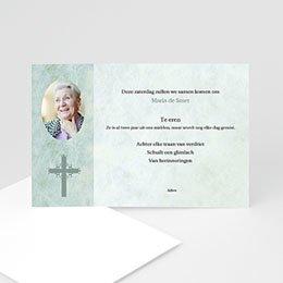 Aankondiging Décès Chrétien Blauwgroen marmer, katholiek protestants