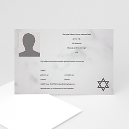 Aankondiging Décès Juif Portret kaart David