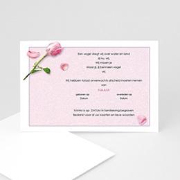 Aankondiging Décès universel Roos en rozenblaadjes