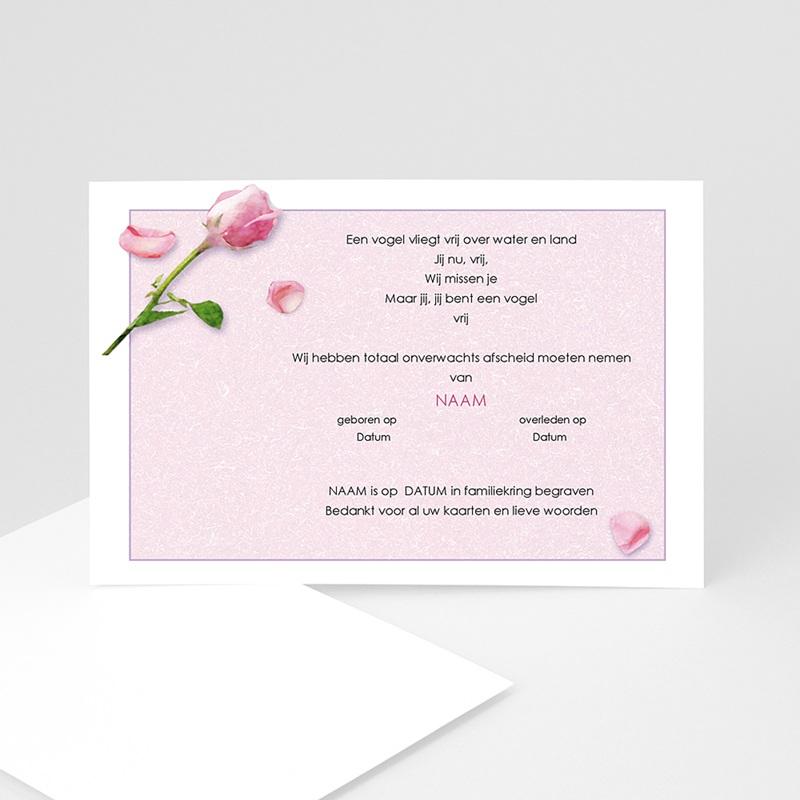 Universele Bedankkaartjes Overlijden Roos en rozenblaadjes