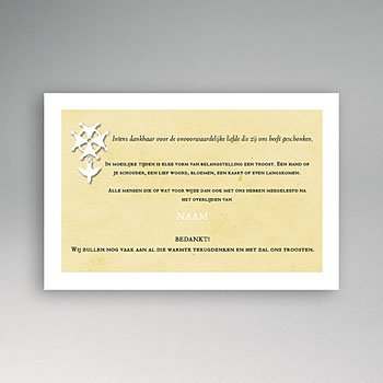 Bedankkaarten overlijden, Christelijk Hugenotenkruis, beige