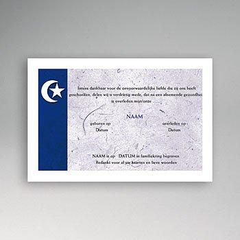 Bedankkaarten overlijden, Islamistisch - Japans blauw, maan en ster - 1