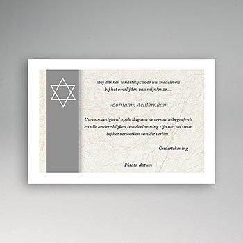 Bedankkaarten overlijden, Joods Davidster, japans papier grijs