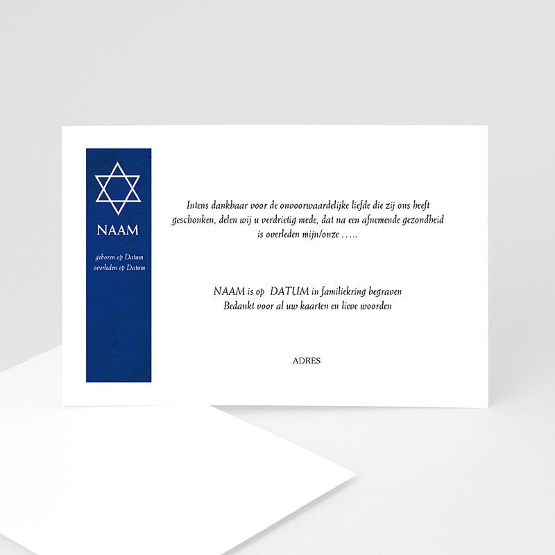 Bedankkaarten overlijden, Joods - Davidster, japans papier 11873 thumb