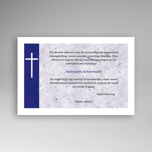 Bedankkaarten overlijden, Christelijk - Japans papier, blauw 11875 thumb