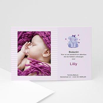 Bedankkaartje geboorte dochter - Olifantje met strik en bloem - 1