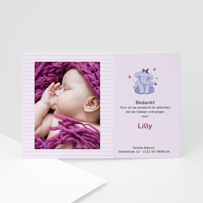 Bedankkaartje geboorte dochter - Olifantje met strik en bloem 11949 thumb