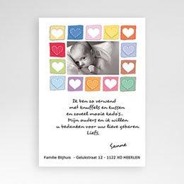 Bedankkaartjes Geboorte Vol hartjes