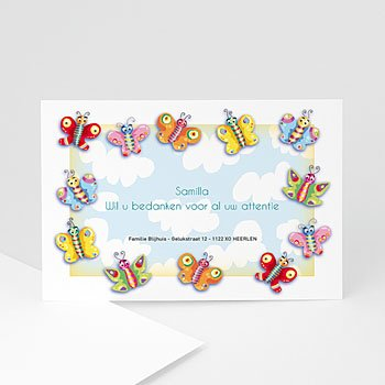 Bedankkaartje geboorte dochter - Overal vlindertjes - 1
