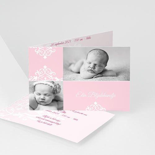 Geboortekaartje meisje Roze dutch design