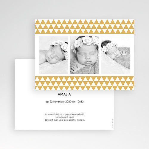 Geboortekaartje meisje - Klassiek retro 3 foto's 12004 thumb