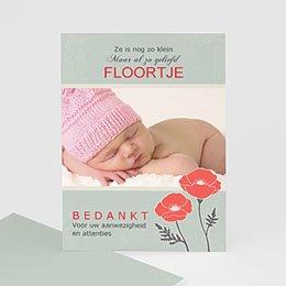 Bedankkaartje geboorte dochter - Klaproosjes - 1