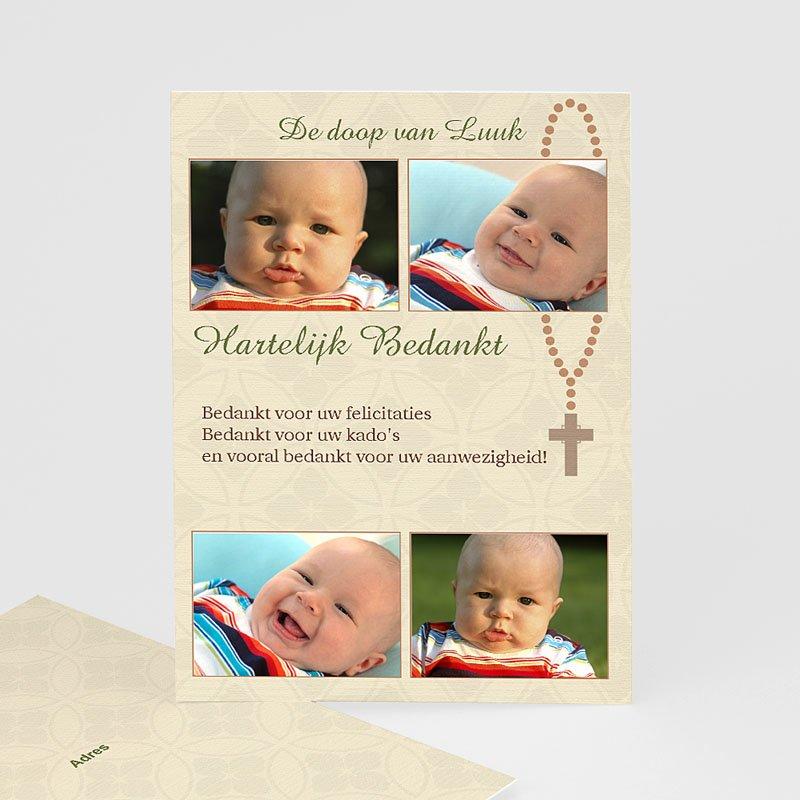 Bedankkaart doopviering jongen - Beeldverhaal met rozenkrans 12015 thumb