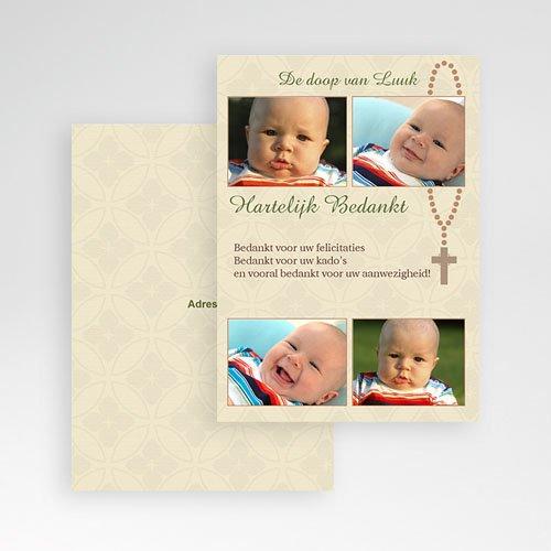Bedankkaart doopviering jongen - Beeldverhaal met rozenkrans 12016 thumb