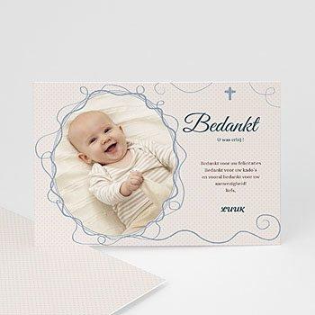Bedankkaart doopviering jongen - Sierlijk portret - 1