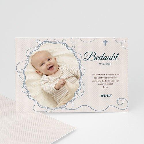 Bedankkaart doopviering jongen - Sierlijk portret 12043 thumb