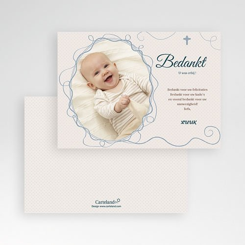 Bedankkaart doopviering jongen - Sierlijk portret 12044 thumb