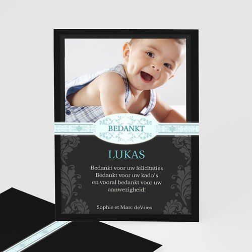Bedankkaart doopviering jongen - Zwart design 12211 thumb